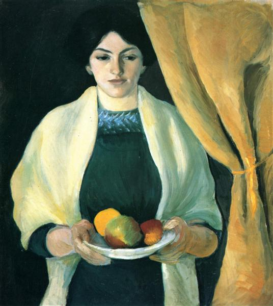 Portrait with apples (Portrait of the Artist's Wife), 1909 - August Macke
