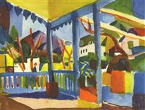 Terrace of the country house in St. Germain - August Macke