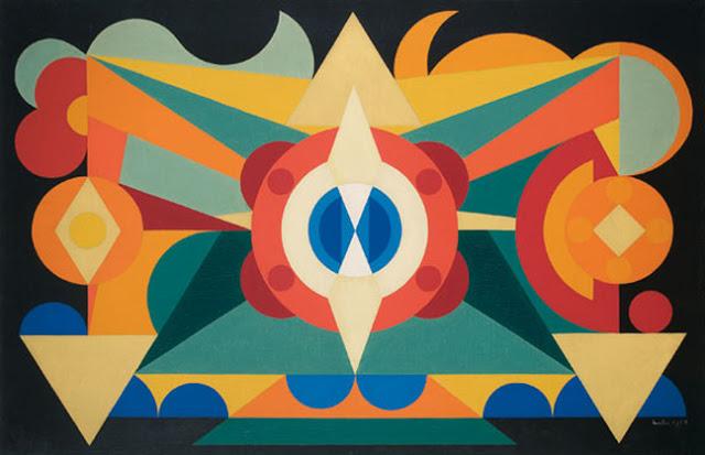Composition sur le Mots, Poires, Pommes, Pêches, 1942 - Auguste Herbin