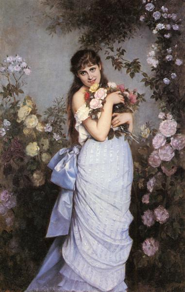 A Young Woman in a Rose Garden, 1886 - Auguste Toulmouche