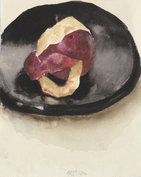 Apple, Half-Peeled on a Black Plate, 1976 - Avigdor Arikha