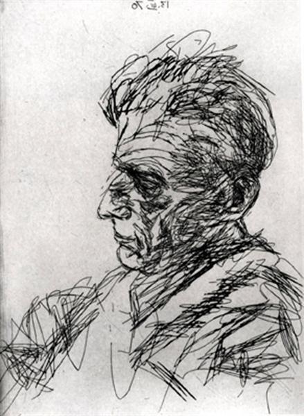 Samuel Beckett in Profile, 1970 - Avigdor Arikha