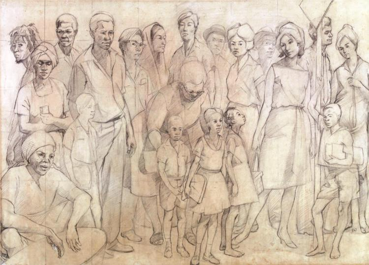 Study drawing for Out of Many, One People 1962 - Barrington Watson
