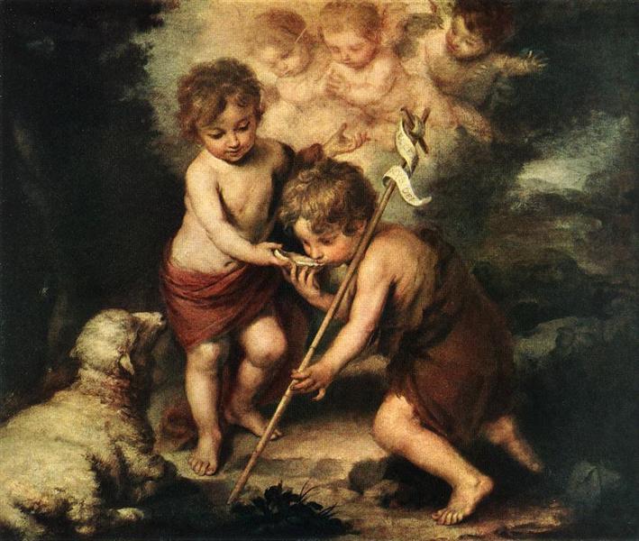 The Holy Children with a Shell, c.1670 - Bartolome Esteban Murillo