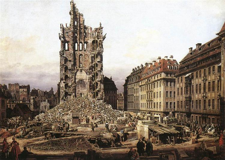 The Ruins of the old Kreuzkirche, Dresden, 1765 - Бернардо Беллотто