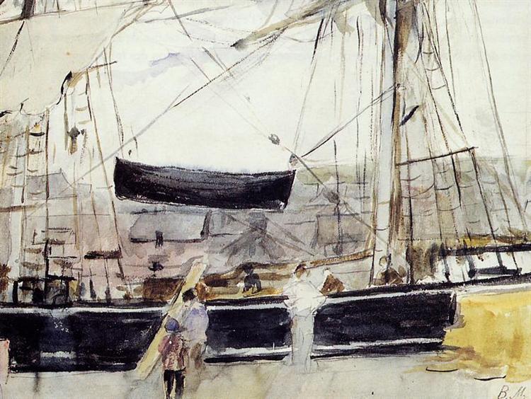 Boat on the Quay, 1875 - Берта Моризо