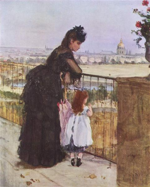 Woman and child on the balcony, 1872 - Berthe Morisot