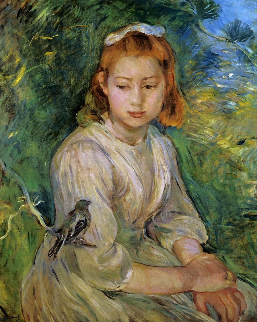 Berthe Morisot Young-girl-with-a-bird