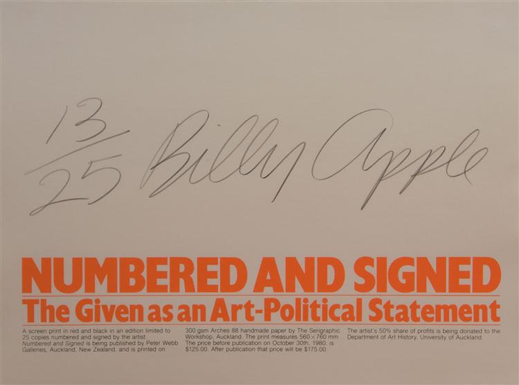 Numbered and Signed, 1980 - Billy Apple