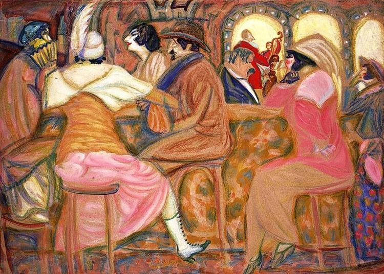 In a Paris Cafe, 1914 - Boris Grigoriev