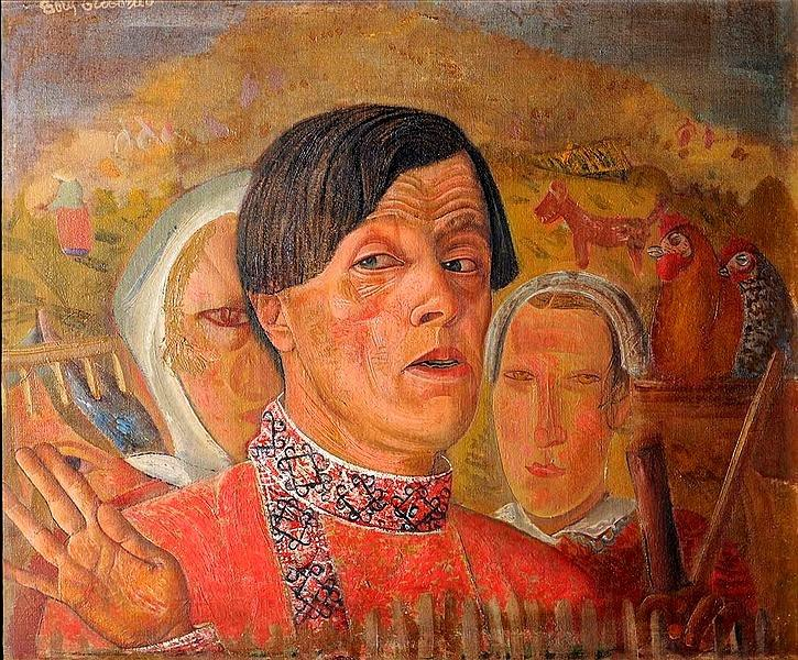 Self-Portrait with a Chicken and a Rooster, 1924 - Boris Grigoriev