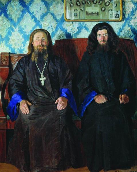 Portrait of a priest and a deacon, 1907 - Boris Kustodiev