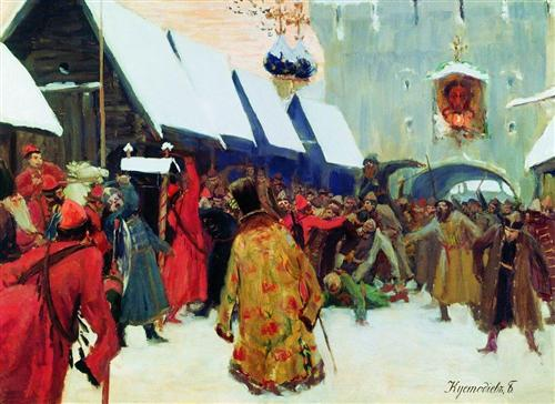 Revolt against the boyars in the old Russia - Boris Kustodiev