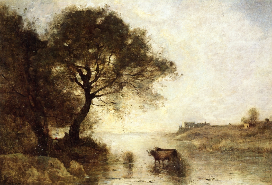 A Ford With Large Trees C 1870 Camille Corot Wikiart Org