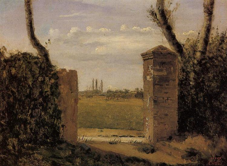 Boid Guillaumi, near Rouen A Gate Flanked by Two Posts - Camille Corot