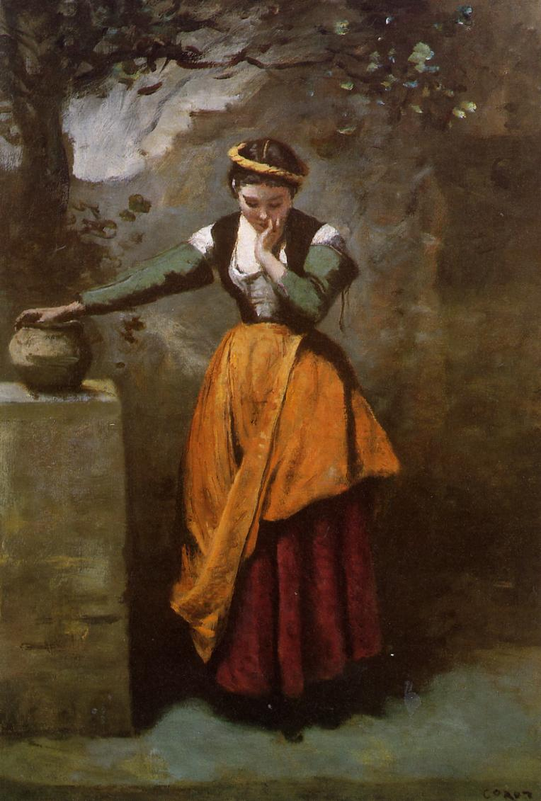 Dreamer at the fountain camille corot for Camille corot