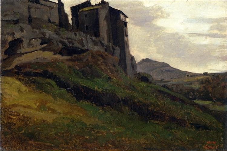 Marino, Large Buildings on the Rocks, 1826 - 1827 - Camille Corot