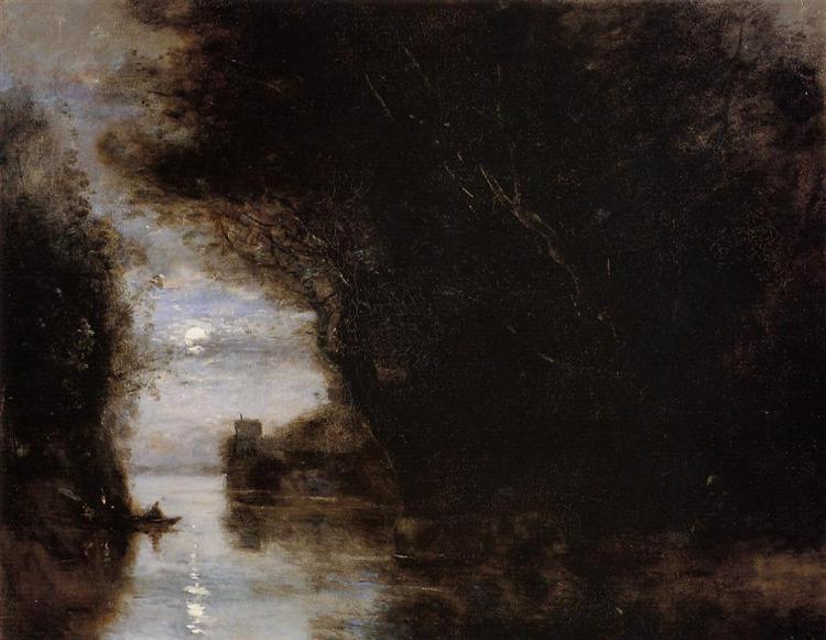 Moonlit Landscape, 1874 - Camille Corot