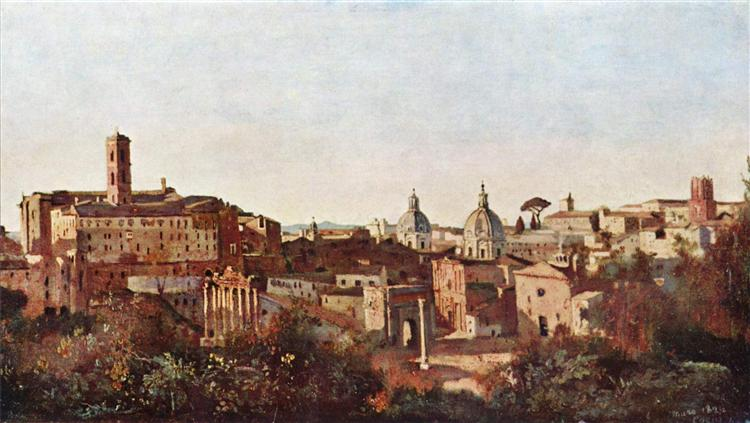 The Forum seen from the Farnese Gardens, Rome, 1826 - Camille Corot