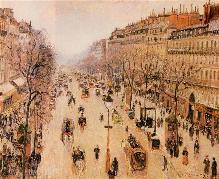 Boulevard Montmartre Morning, Grey Weather - Camille Pissarro