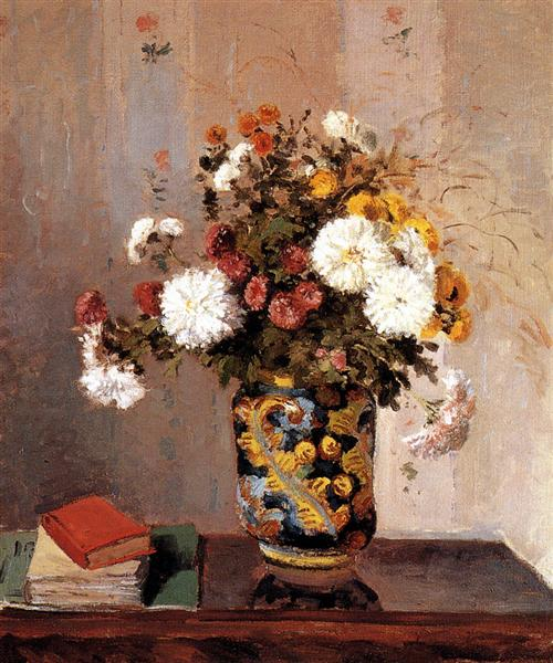 Chrysanthemums In a Chinese Vase, 1873 - Camille Pissarro