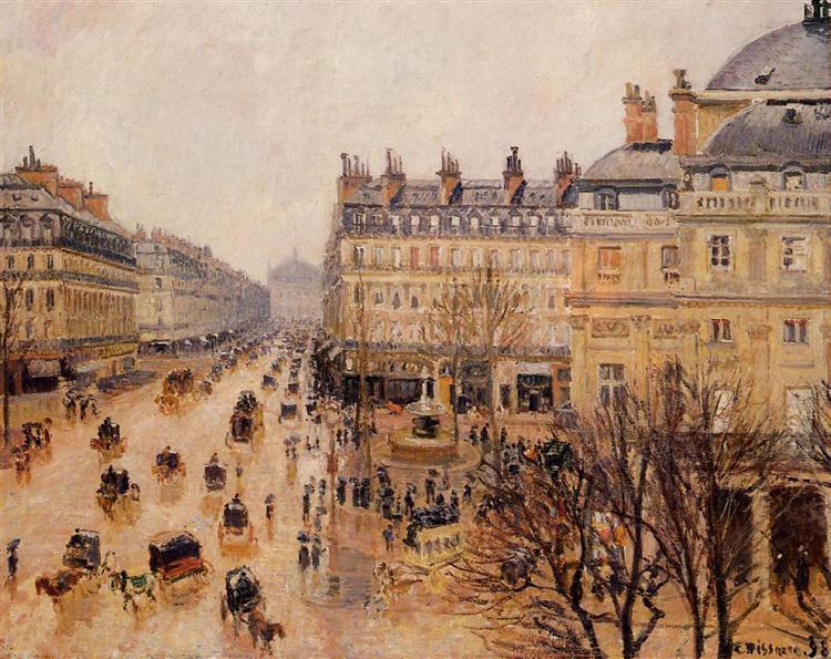 Place du Theatre Francais Rain Effect, 1898 - Camille Pissarro