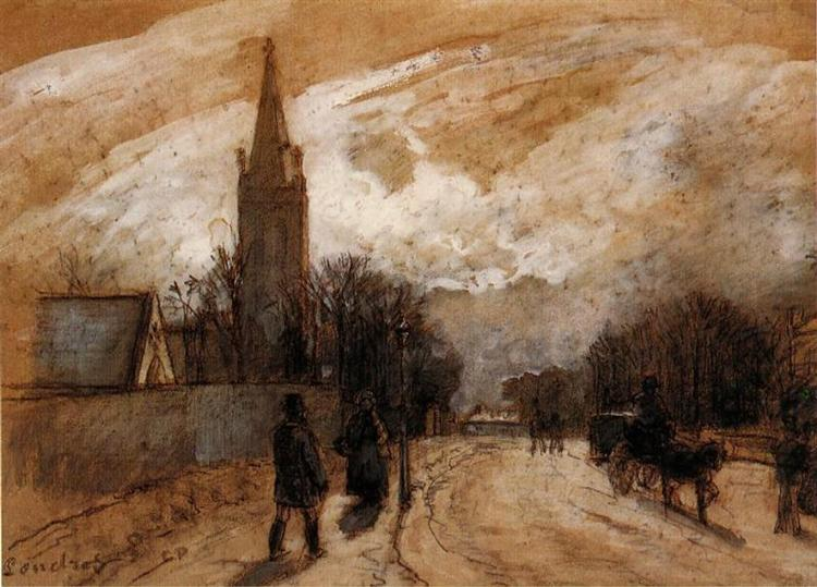 Study for 'All Saints' Church, Upper Norwood', 1871 - Camille Pissarro