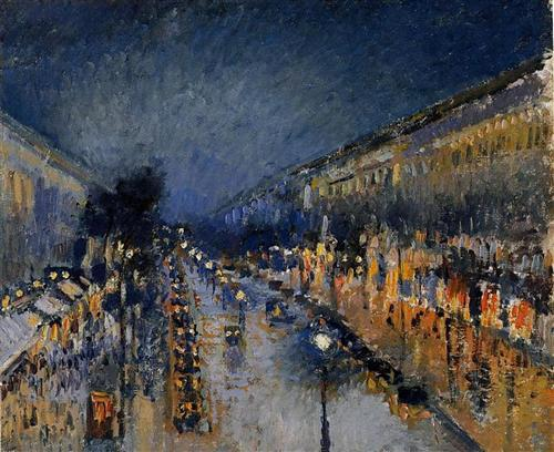 The Boulevard Montmartre at Night - Camille Pissarro
