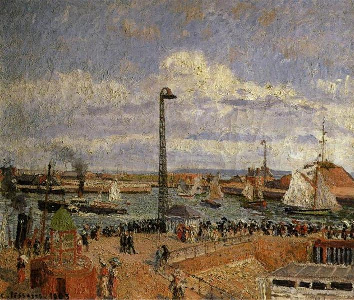The Pilot's Jetty, Le Havre High Tide, Afternoon Sun, 1903 - Camille Pissarro