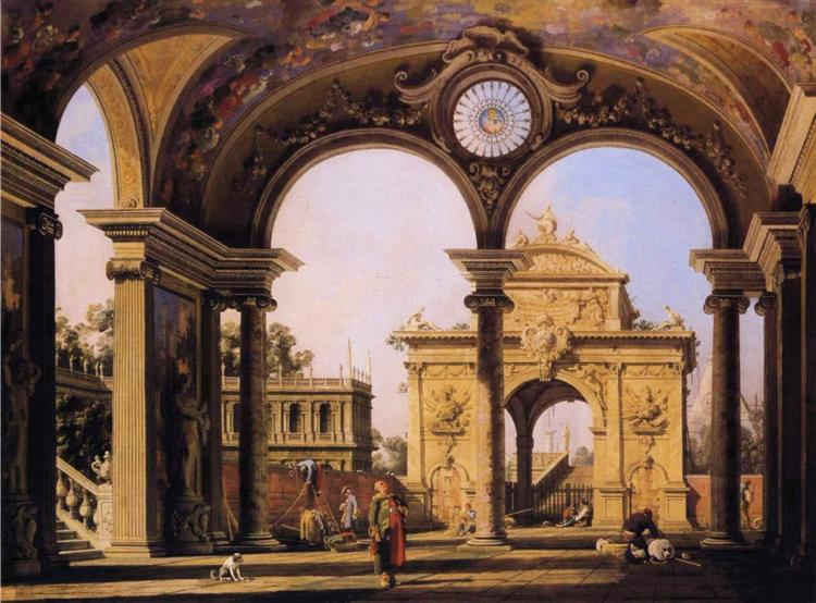 Capriccio of a Renaissance Triumphal Arch seen from the Portico of a Palace - Giovanni Antonio Canal