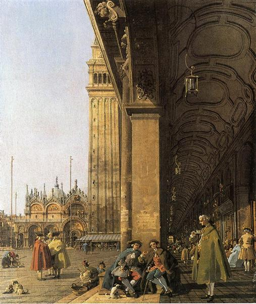 Piazza San Marco, Looking East from the Southwest Corner (Piazza San Marco and he Colonnade) - Canaletto