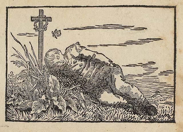 Boy sleeping on a grave, c.1801 - c.1803 - Caspar David Friedrich