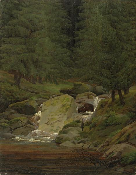 Pines at the waterfall, 1828 - Caspar David Friedrich