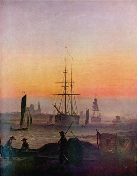 Ships at the port of Greifswald, c.1810 - Caspar David Friedrich