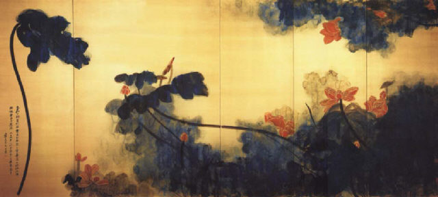 Crimson lotuses on gold screen - Чжан Дацянь