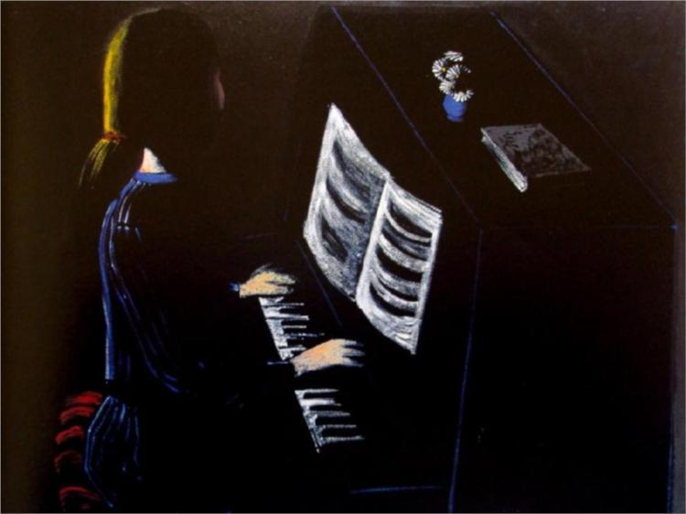 Playing Mozart, 1972 - Charles Blackman