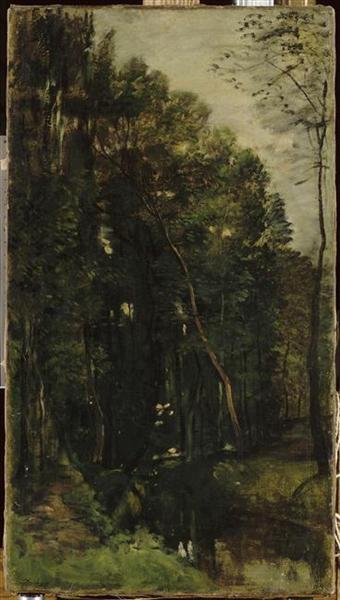 The woods and creek - Charles-Francois Daubigny