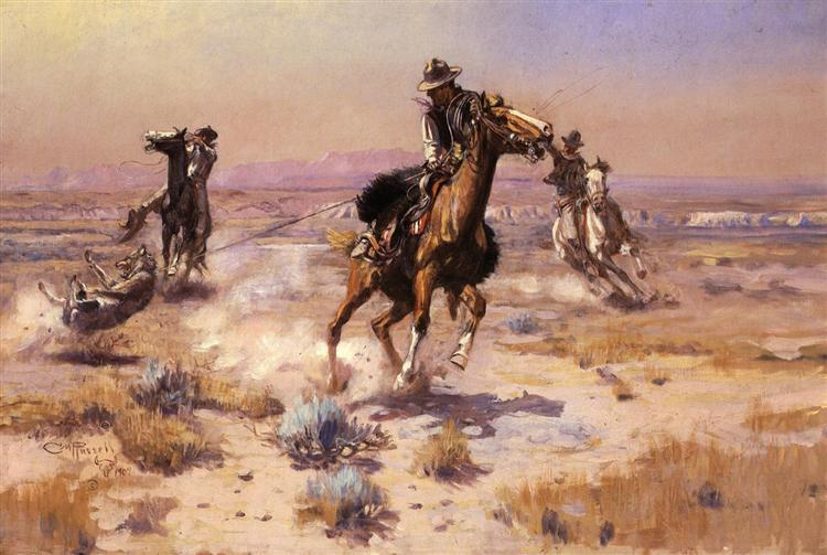 At Rope's End, 1909 - Charles M. Russell