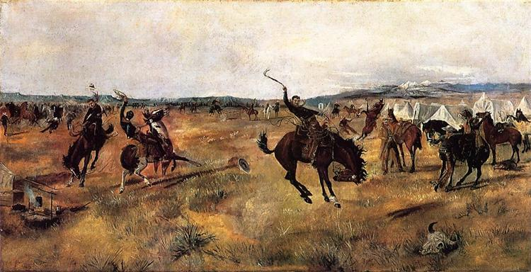 Breaking Camp, 1885 - Charles M. Russell