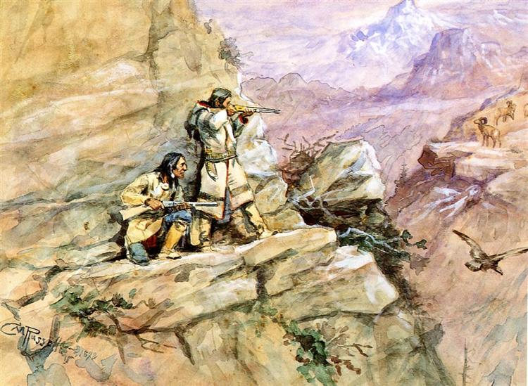 Hunting Big Horn Sheep, 1898 - Charles M. Russell