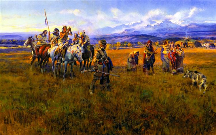 Lewis and Clark Reach Shoshone Camp Led by Sacajawea the Bird Woman, 1918 - Charles M. Russell