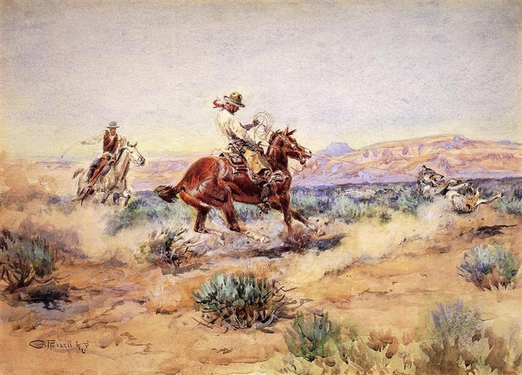 Roping a Wolf, 1918 - Charles Marion Russell