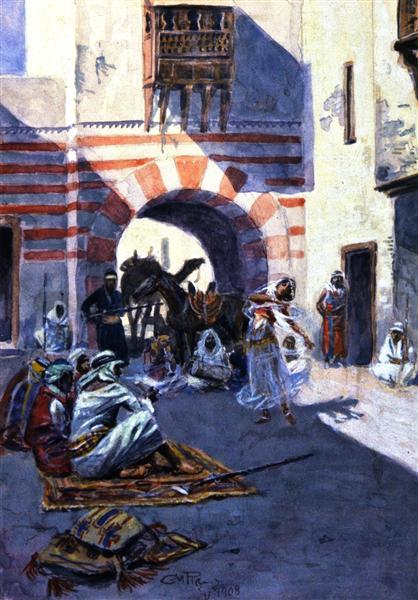 Street Scene in Arabia, 1908 - Charles M. Russell