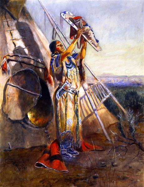 Sun Worship in Montana, 1907 - Charles Marion Russell