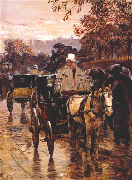 Carriage, Rue Bonaparte, 1888 - Чайльд Гассам