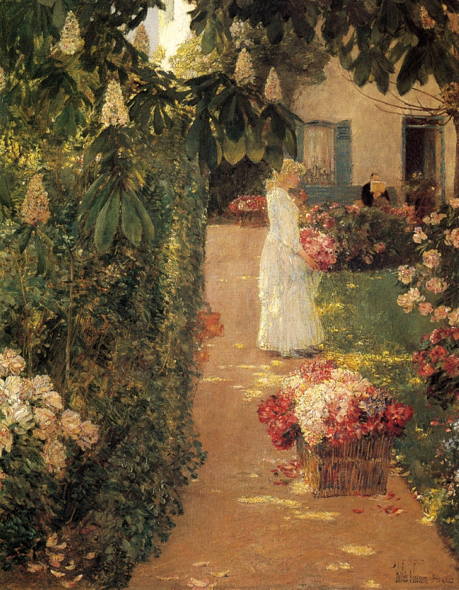 Gathering Flowers in a French Garden 1888 Childe Hassam