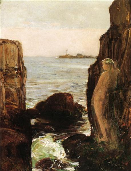 Nymph on a Rocky Ledge, 1886 - Childe Hassam