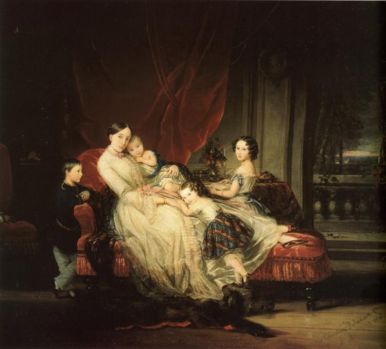Grand Duchess Maria Nikolaevna with Her Children, 1849