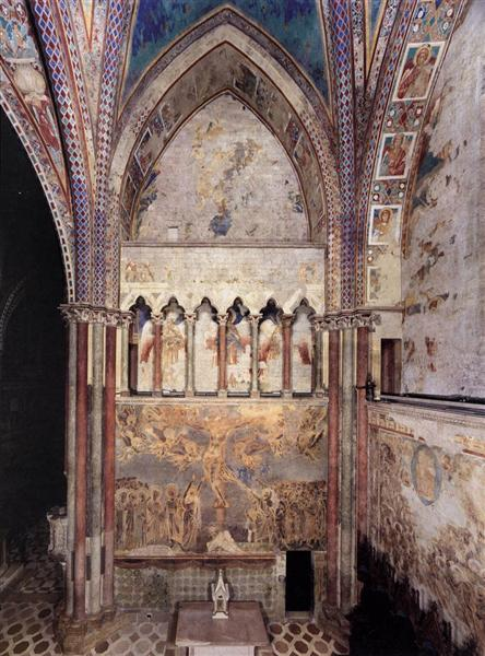 View of the frescoes in the left transept, 1280 - 1283 - Cimabue