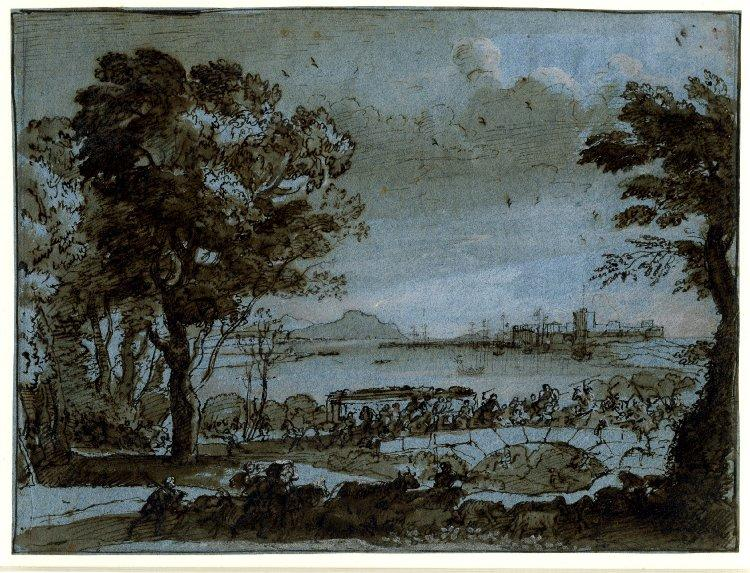 Coast scene with a battle on a bridge - Claude Lorrain